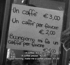 Quanto costa un caffè?