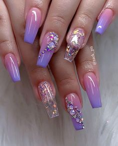 Chic Ombre Coffin Nails Designs In Summer - Nail Art Connect Coffin nails have always been the favorite nail shape for fashion girls. The name sounds terrible, but it also has Nail Art Designs, Cute Acrylic Nail Designs, Best Acrylic Nails, Summer Acrylic Nails, Nail Summer, Purple Nail Designs, Neon Nails, Purple Nails, My Nails