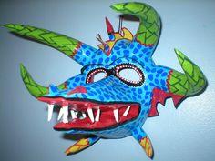Puerto Rican Style mask.  Collage & Pattern. Vejigante Carnival Masks.