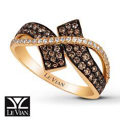 LeVian Chocolate Diamonds 5/8 ct tw Ring 14K Honey Gold