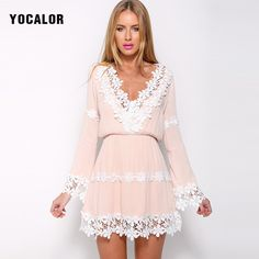 2017 Spring Sweet Sexy V Neck Lace Patchwork Long Sleeve Chiffon Short Dress Women Summer Sundress Vestido Pink Dresses Kawaii