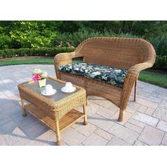 Oakland Living Resin Wicker Patio Loveseat Set - Natural ($579) ❤ liked on Polyvore featuring home, outdoors, patio furniture, resin wicker loveseat, wicker love seat, outdoor wicker sofa, outdoor wicker patio furniture and outside patio furniture