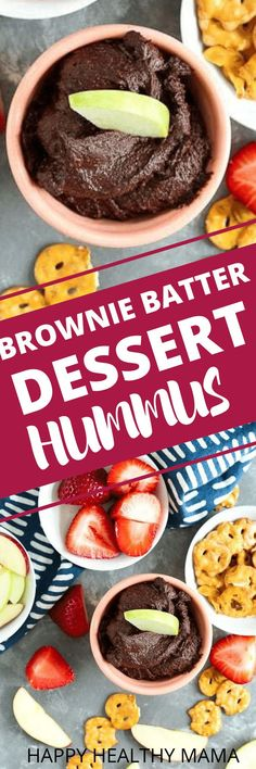 This Brownie Batter Dessert Hummus is to die for!! It's a healthy, easy recipe that is great for a sweet, but healthy snack. Great for dipping fruit, pretzels, and more. Love this gluten free vegan recipe.