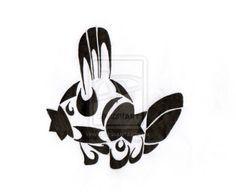 Tribal Mudkip by maddi-san on DeviantArt Foot Tattoos, Tribal Tattoos, Tribal Pokemon, Mudkip, Pokemon Tattoo, Tattoo Inspiration, Drawing Ideas, Silhouettes, Tatting