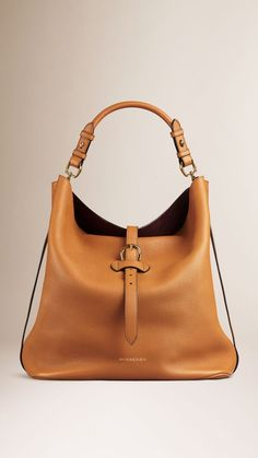 Large Buckle Detail Leather Hobo Bag