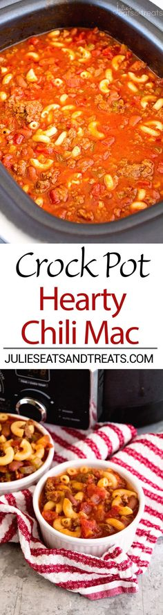 Crock Pot Hearty Chili Mac with so much flavor! Crock Pot Hearty Chili Mac Recipe ~ Delicious Chili Slow Cooked All Day Long and Then Finished Off with Pasta! Hearty, Comforting Meal for Dinner! Crock Pot Food, Crockpot Dishes, Crock Pot Slow Cooker, Slow Cooker Recipes, Crockpot Recipes, Cooking Recipes, Slow Cooking, Crock Pot Chili, Cooking Chili