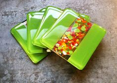 Fused Art Glass Coaster - Amazon Green Opal Art Glass with Red, Orange, Yellow, green, blue Frit - Free Shipping!