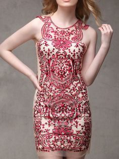 Red Embroidery Totem Bodycon Dress