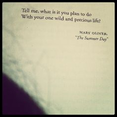 Tell me what it is you plan to do with your one wild and precious life? -Mary Oliver