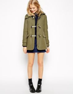 Image 4 of ASOS Duffle Coat with Swing Shape in Wool Twill