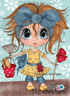 Sherri Baldy My Bestie Daisy Do All Cleaning Day Go Away digi stamp Art Fantaisiste, Art Mignon, Digi Stamps, Whimsical Art, Cute Illustration, Big Eyes, Fabric Painting, Belle Photo, Cute Cartoon