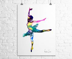 Watercolor Illustration - Ballerina Dancer Art Print - Watercolor Painting