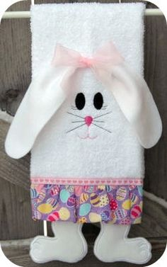 Bunny Legs Towel - Machine Embroidery @ Embroidery Garden