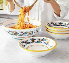 Sur La Table, Deruta-Style Pasta, Serving Set with 4 bowls $100, individual bowl $17, serving bowl $40
