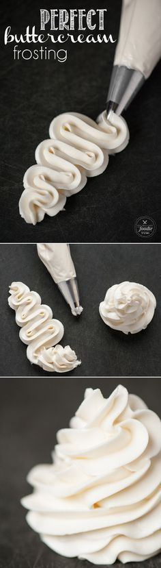 Next time you bake a cake or make cupcakes, you'll want to make this rich, smooth, and incredibly delicious traditional yet Perfect Buttercream Frosting. (make birthday cake buttercream frosting) Cupcake Recipes, Baking Recipes, Cupcake Cakes, Dessert Recipes, Fondant Recipes, Cupcake Frosting, Baking Cupcakes, Wedding Cake Frosting, White Frosting
