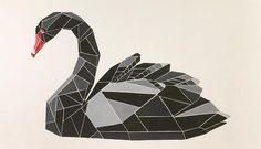 Malerei von Mariia Zhigalov Geometric Art, Low Poly Art, Animal Art, Swans Art, Geometric Animals, Shape Art, Drawings, Art Icon, Swan Tattoo