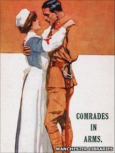 Nurse and soldier depicted on a World War I postcard