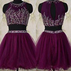 Two Piece Short Beading Grape Homecoming Dress with Jewel Neck Key Hole Back