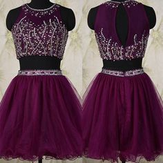 Two Piece Short Beading Grape Homecoming Dress with Jewel Neck Key Hole Back