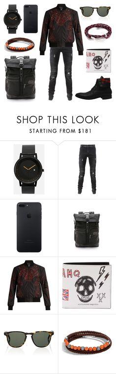 """Bucardo"" by fakefur ❤ liked on Polyvore featuring Simple Watch Co., Balmain, Tumi, Marcelo Burlon, Alexander McQueen, Garrett Leight, John Hardy, MIANSAI, men's fashion and menswear"
