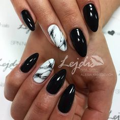 Marbled white and black nails!!
