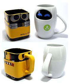Disney Pixar WALL-E And EVE Mug Gift Set - Gwyl.io Add some Disney fun to your hot drinks with this mug set. Disney Pixar WALL-E And EVE Mug Gift will definitely brighten your day Starbucks Cup, Starbucks Tumbler, Disney Coffee Mugs, Cute Coffee Mugs, Cool Mugs, Coffee Cups, Coffee Coffee, Disney Pixar, Disney Kitchen