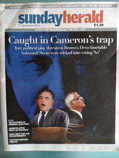 The Sunday Herald Newspaper Sunday 21st September 2014 After the Referendum