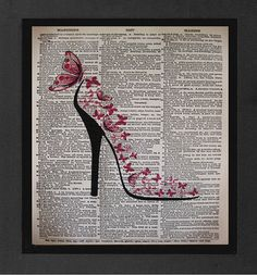 "Shoe Art- High Heel ""Pink Dreams""ORIGINAL ARTWORK Mixed Media art print on 8x10 Vintage Dictionary page, Dictionary art, Dictionary print"