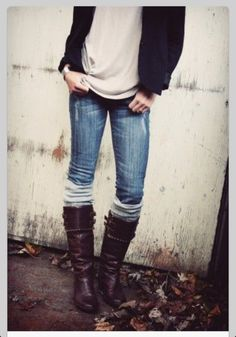 Casual - wish my calves werent so big! i would love to wear jeans and boots like this!!