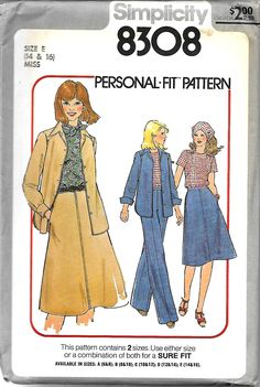 Simplicity 8308 Personal-Fit Pattern, Misses Skirt, Pants, Top, Scarf And Shirt-Jacket, Size 14-16, UNCUT by DawnsDesignBoutique on Etsy
