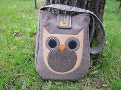 Owl totebag recycled wool applique by granniesraggedybags on Etsy, $27.00