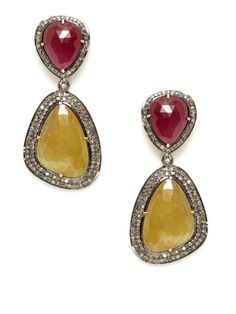 Freeform Yellow Sapphire Drop Earrings by Amrapali on Gilt.com