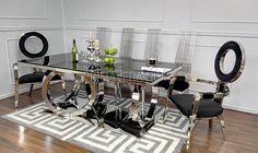 Stół do jadalni stal szklany nowoczesny styl glamour czarne PICASSO