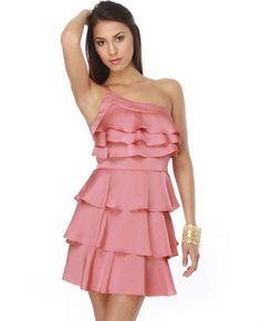 Belle Boutonnière One Shoulder Pink Dress $46.00 - Lulu's