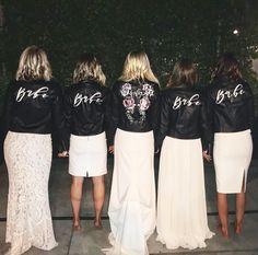 Bridal Party Leather Jackets   Leather Wedding Jacket   Painted Leather Jacket   By @bashcalligraphy