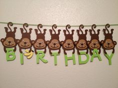Monkey Birthday Banner Baby Shower Banner by CheshireCrafter, $35.00