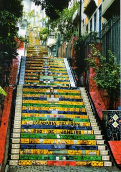"""Escadaria Selarón is a set of world-famous steps in Rio de Janeiro, Brazil. They are the work of Chilean-born artist Jorge Selarón who claimed it as ""my tribute to the Brazilian people""."