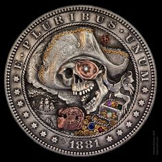 """Morgan silver dollar """"Bye Willy"""" with 24K gold & copper inlay, diamond and gemstones engraved by Aleksey Saburov."""