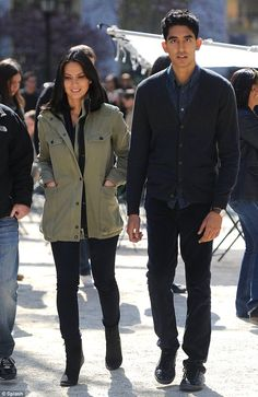 "Olivia Munn and Dev Patel on the filming shoot ""The Newsroom"" a new movie from Central Park, NYC"