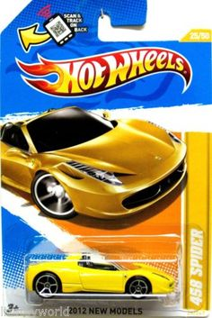 Ferrari 458 Spider 2012 Hot Wheels New Models #25/50 yellow