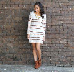 Vestido de tricô manga longa + bota de cano curto