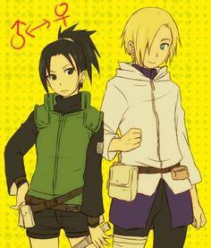 Gender-bent Shikamaru and Ino.