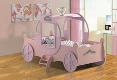 A kids' bed looking like a car for a girl's room! Most of manufacturers of kids' furniture produce car-beds not only for boys, but Little Girl Beds, Little Doll, Princess Carriage Bed, Kids Bed Design, Car Bed, Shabby, Big Girl Rooms, Bed Sizes, Kid Beds