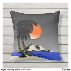 Night and Day Island Outdoor Pillow different on each side