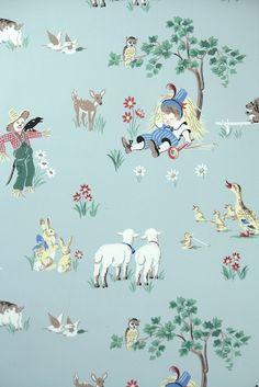little boy blue nursery rhyme vintage wallpaper for children