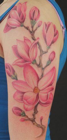 Magnolia half sleeve tattoo. - 50+ Magnolia Flower Tattoos