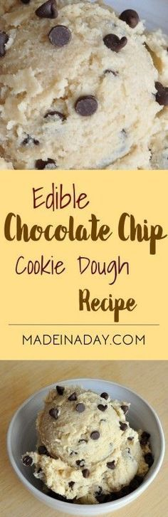 Edible Chocolate Chip Cookie Dough Edible Egg-less Cookie Dough Recipe, make a safer version of grocery store cookie dough that you can actually eat! Cookie Dough Recipes, Edible Cookie Dough, Chocolate Chip Cookie Dough, Baking Recipes, Chocolate Chips, Egg Less Cookie Dough, Simple Cookie Dough Recipe, Chocolate Ravioli, Chocolate Cake