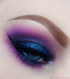 purple and blue eyeshadow. The purple eyeshadow under the eye isn't well done, in a way it looks like a bruise. I only like the colours.