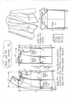 Blazer gola xale 1 botão | DIY - molde, corte e costura - Marlene Mukai Coat Patterns, Dress Sewing Patterns, Sewing Patterns Free, Clothing Patterns, Blazer Pattern, Jacket Pattern, Sewing Hacks, Sewing Tutorials, Sewing Summer Dresses