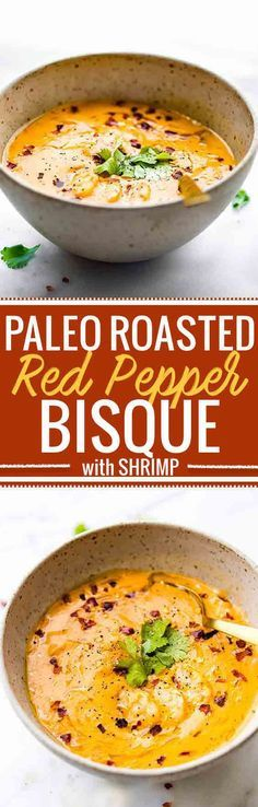 This creamy roasted red pepper bisque with Shrimp is dairy free, paleo, and totally delicious! A spicy bisque with healing immunity boosting nutrients. Perfect for cold weather or under the weather! Also a great way to get veggies into your meal. Nourish your family, feed your friends, or enjoy this robust roasted red pepper bisque recipe all to yourself. Whole 30 compliant. www.cottercrunch.com @cottercrunch